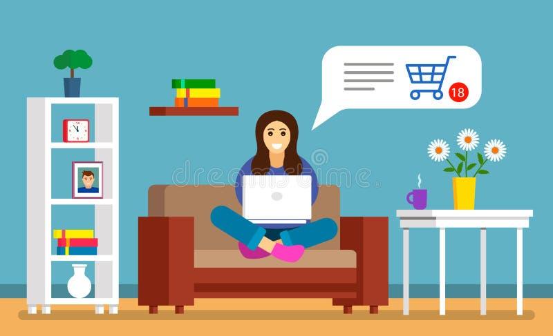 Красивая маленькая девочка сидит на кресле с ноутбуком и делает приобретения онлайн через кредитную карточку современный shrping бесплатная иллюстрация