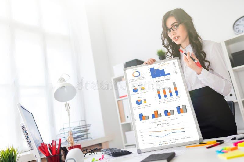 Красивая маленькая девочка стоит около стола офиса и рисует магнитную отметку на магнитной доске стоковые фотографии rf