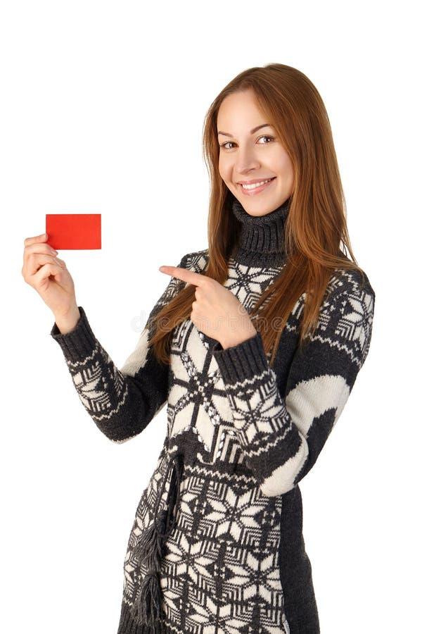 Красивая маленькая девочка в свитере зимы с усмехаться карточки стоковая фотография rf