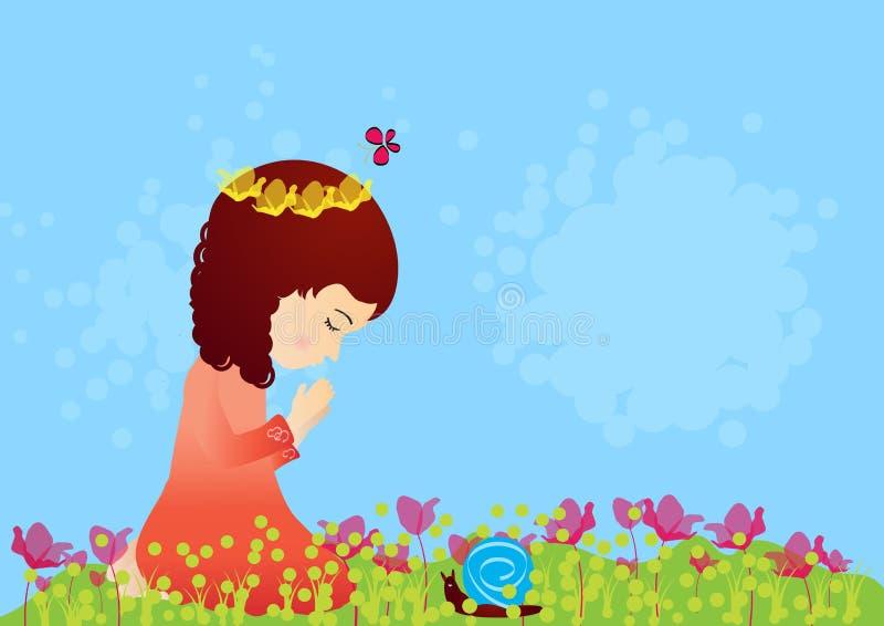 Красивая маленькая девочка моля бесплатная иллюстрация