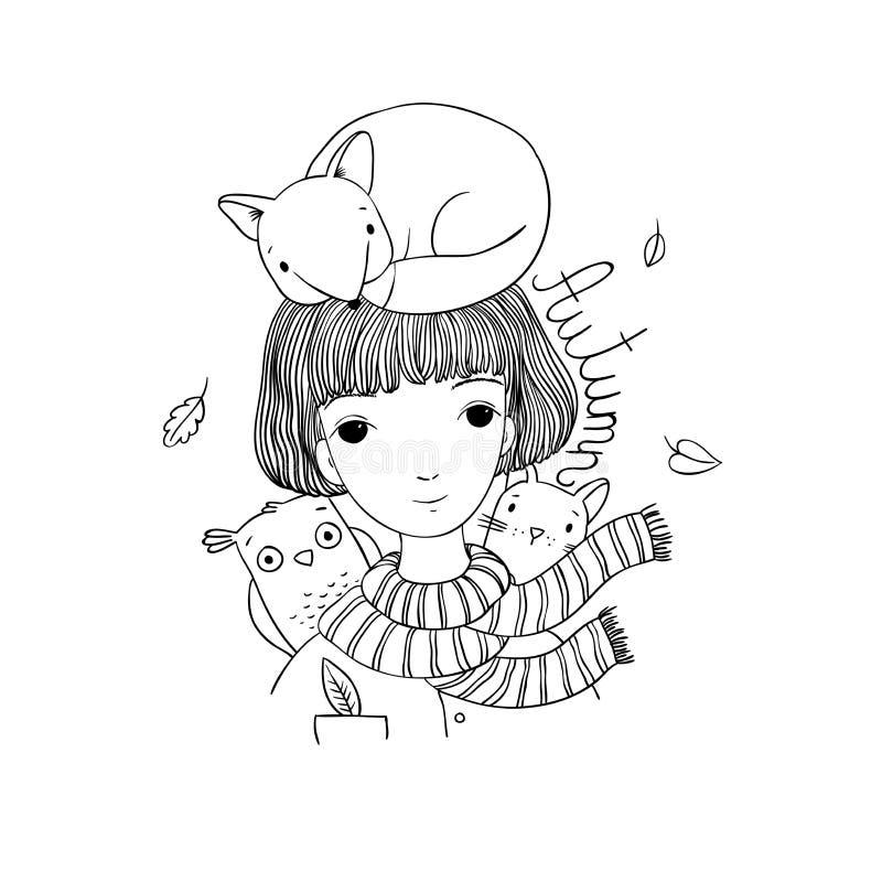 Красивая маленькая девочка с короткими волосами, лисой, котом и сычом иллюстрация вектора