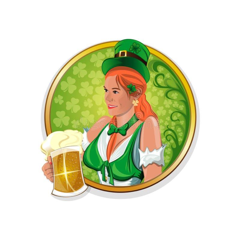 Красивая, милая ирландская девушка с стеклом пива в руке Круглые стикеры для ирландского паба иллюстрация вектора
