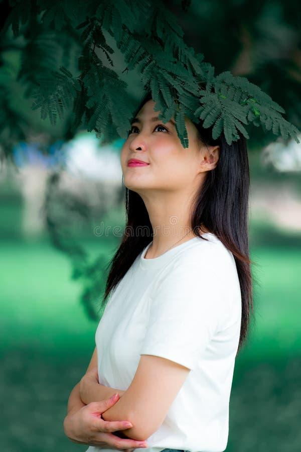 Красивая молодая азиатская женщина китайская насладиться ослабить в зеленой вертикали портрета предпосылки природы стоковое изображение rf