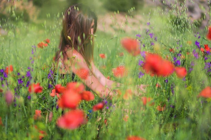 Красивая молодая женщина весны outdoors наслаждаясь природой Здоровый s стоковая фотография rf