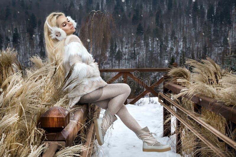 Красивая молодая женщина в сексуальном мини платье, стоящ на снеге и взгляде гор стоковое изображение