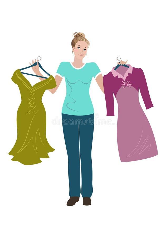 Красивая молодая женщина пробуя выбрать между 2 платьями иллюстрация вектора