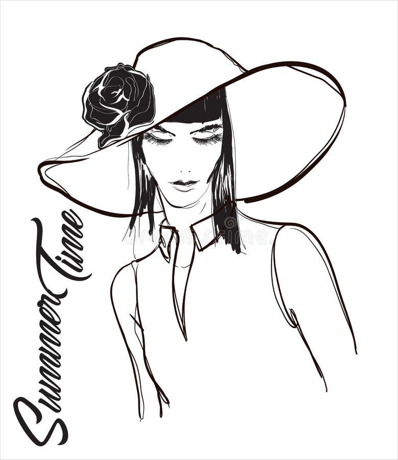 Красивая молодая женщина со шляпой Эскиз моды Девушки моды смотрят на Нарисованная вручную фотомодель Сторона женщины на белой пр иллюстрация штока