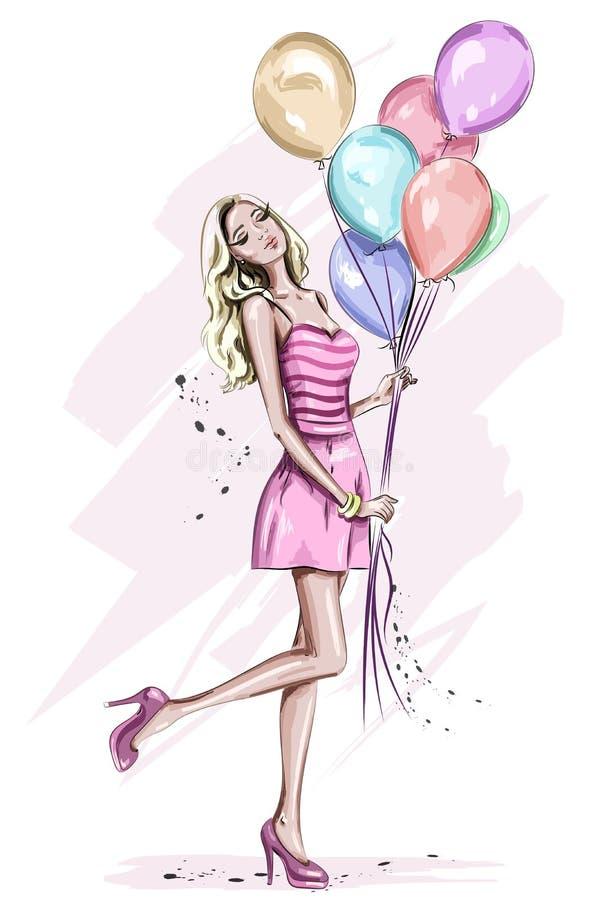 Красивая молодая женщина с красочными воздушными шарами дня рождения бесплатная иллюстрация