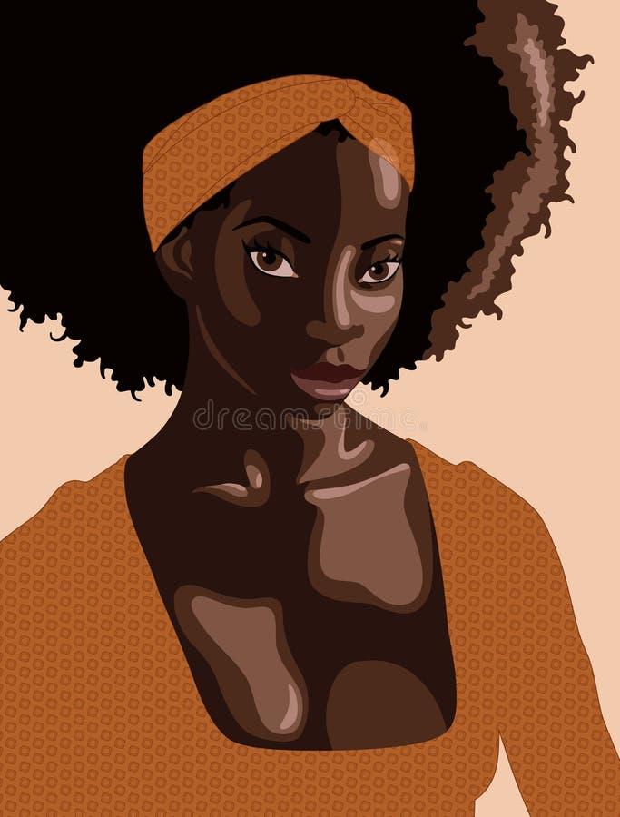 Красивая молодая чернокожая женщина с платьем и держателем охры длинного вьющиеся волосы нося с геометрической картиной иллюстрация вектора
