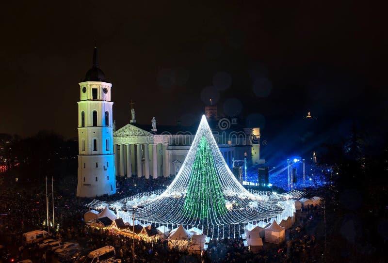 Красивая молния рождественской елки стоковая фотография