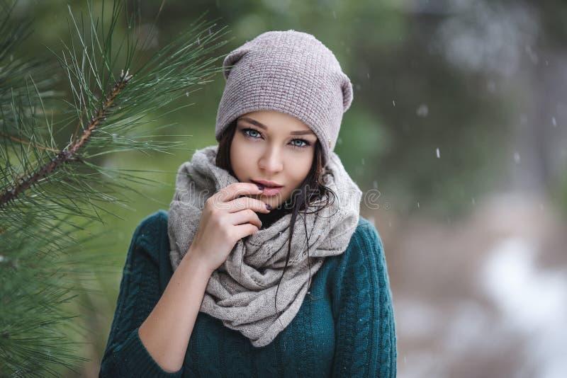 Красивая молодая женщина в wintertime внешнем стоковое изображение