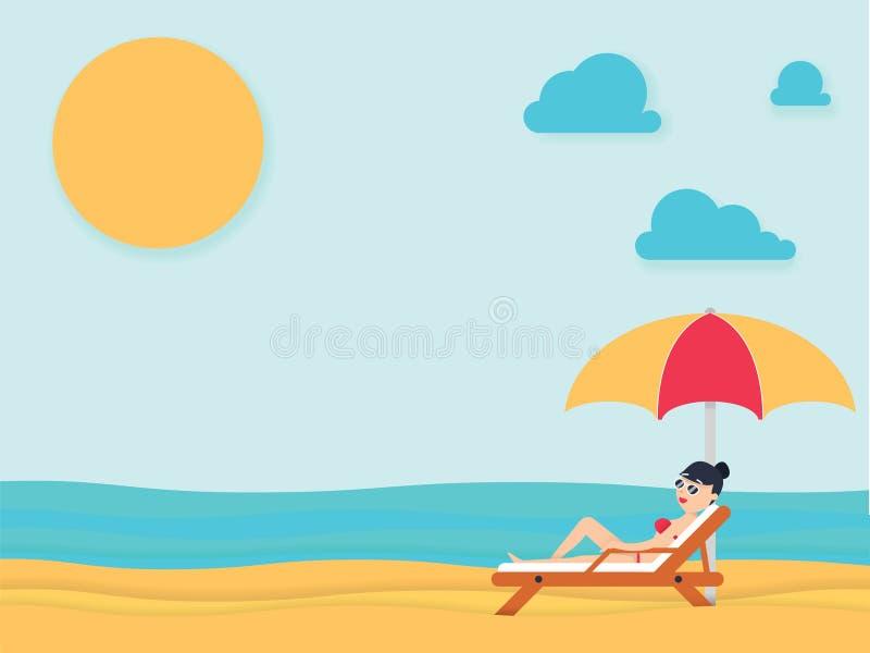 Красивая молодая женщина загорая, с солнечными очками на пляже пристаньте солнце к берегу лета взморья lounger праздника Англии п иллюстрация вектора