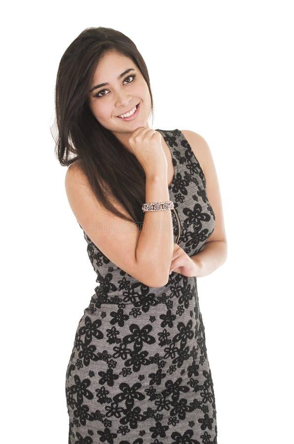 Красивая молодая женщина нося немного черное платье стоковые фото