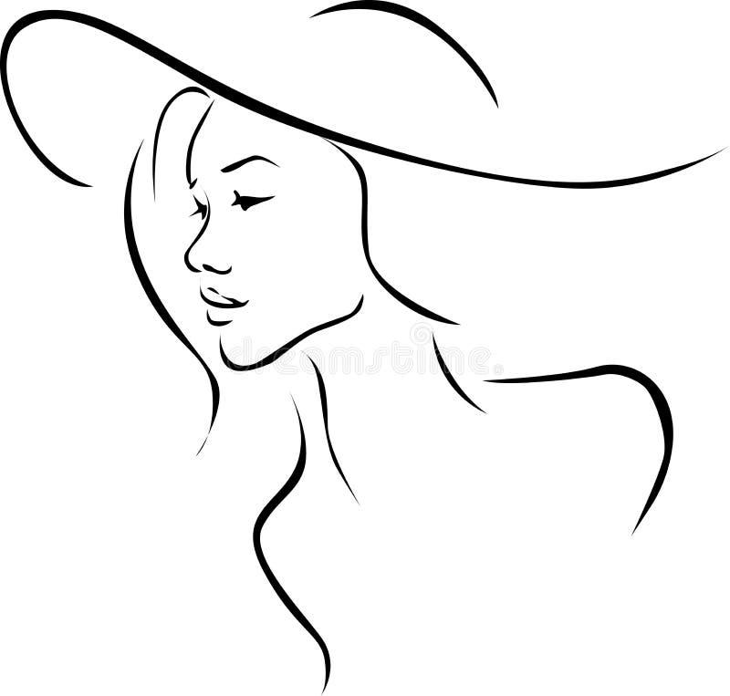Красивая молодая женщина с профилем иллюстрации шляпы - черной линией вектором иллюстрация штока