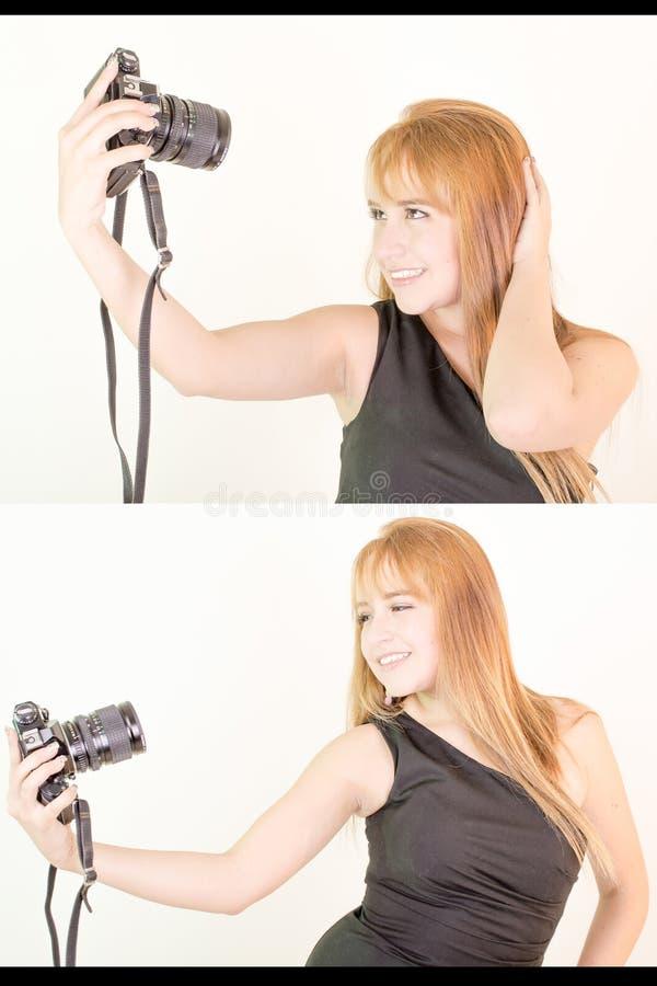 Красивая молодая женщина фотографируя стоковые изображения rf