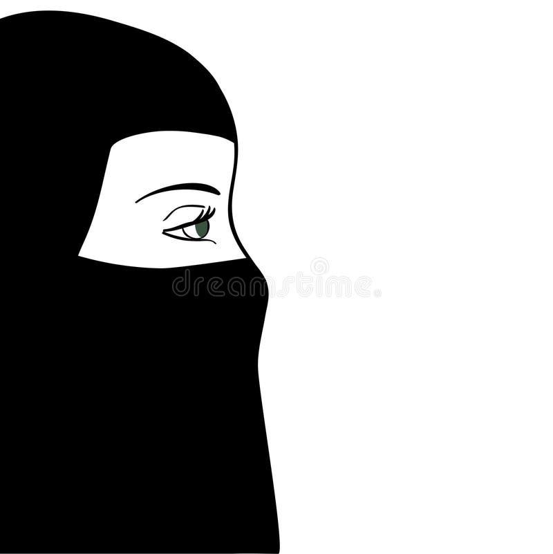 Красивая мусульманская женщина в черном nijab также вектор иллюстрации притяжки corel иллюстрация штока