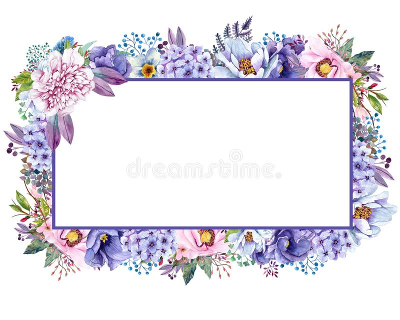 Красивая мята акварели цветет рамка Свадьба золота мяты приглашает шаблон иллюстрация штока
