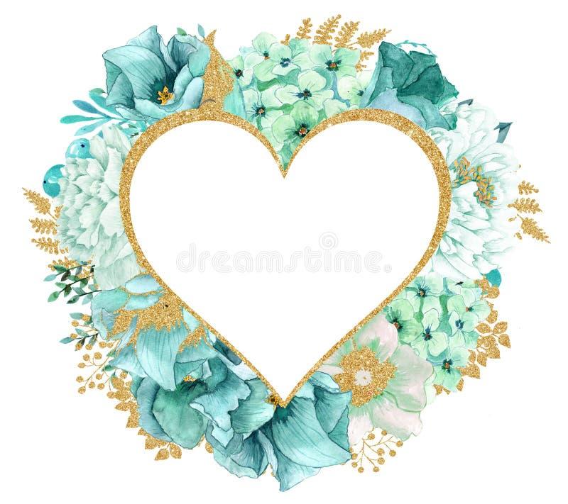 Красивая мята акварели цветет рамка Рамка цветка золота мяты! иллюстрация вектора