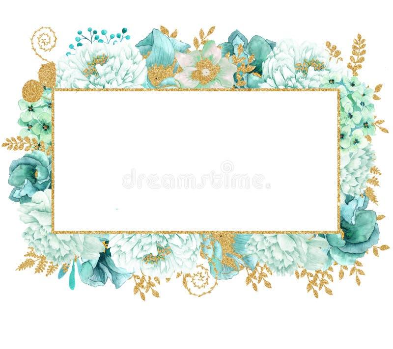 Красивая мята акварели цветет рамка Рамка цветка золота мяты! иллюстрация штока