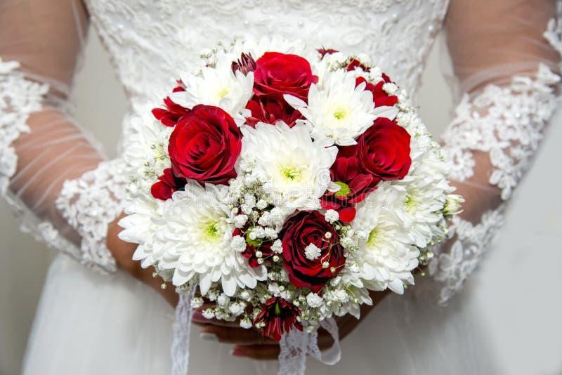 Красивая невеста в платье свадьбы держа букет красных тюльпанов Белая предпосылка стоковая фотография rf