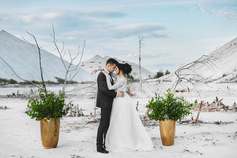 Красивая обнимая пара любовников на белой пустыне, молодой женщины со стилем причесок свадьбы и роскошных ювелирных изделий и стоковые фото