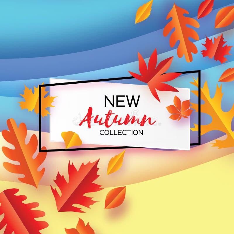 Красивая осень в стиле отрезка бумаги Листья Origami Здравствуйте! осень сентябрь октябрь Рамка прямоугольника для текста Origami иллюстрация вектора