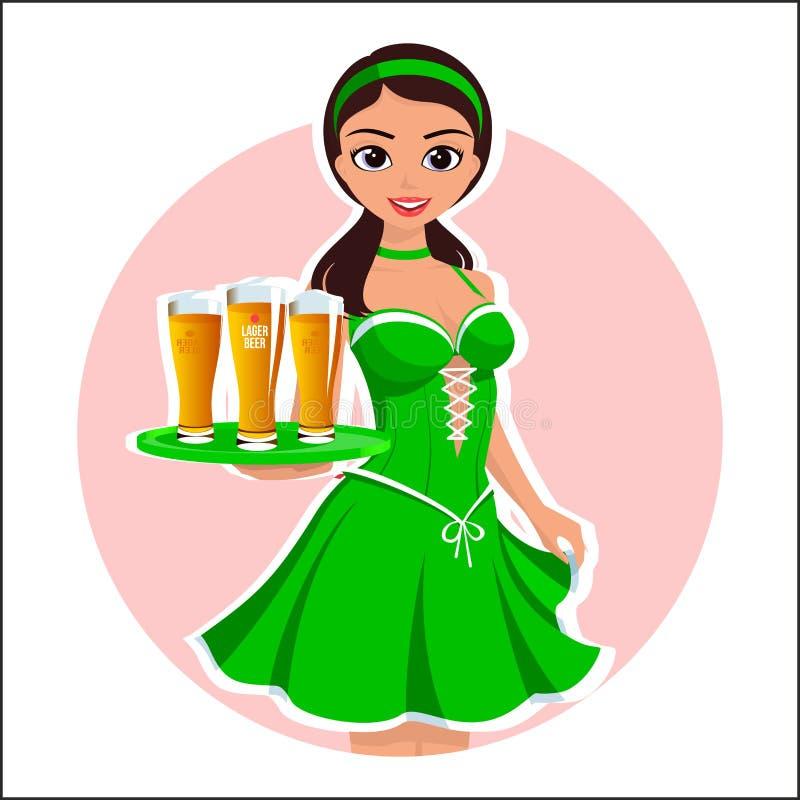Красивая официантка девушки с стеклами пива в зеленом платье на день ` s St. Patrick Ирландского на illus голубой предпосылки хол бесплатная иллюстрация