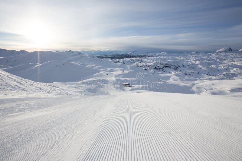 Красивая панорама зимы с наклоном лыжи стоковое фото rf