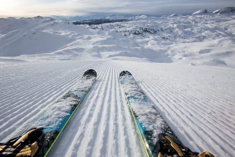 Красивая панорама зимы с наклоном лыжи стоковая фотография
