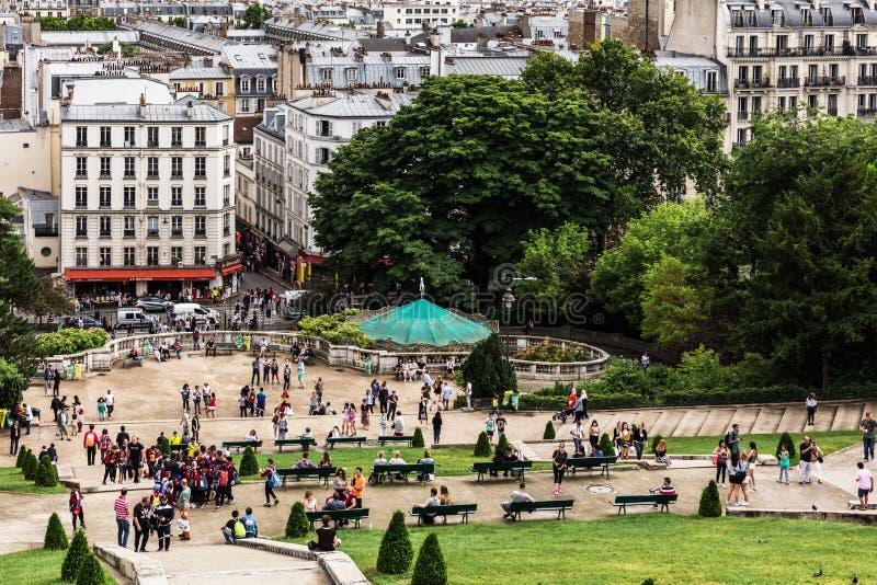 Красивая панорама Парижа увиденная от холма Montmartre Париж, Fr стоковое фото rf