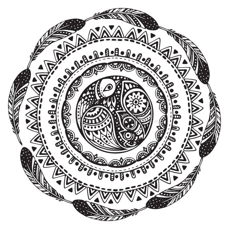 Красивая печать с элементами нарисованными рукой этническими иллюстрация штока