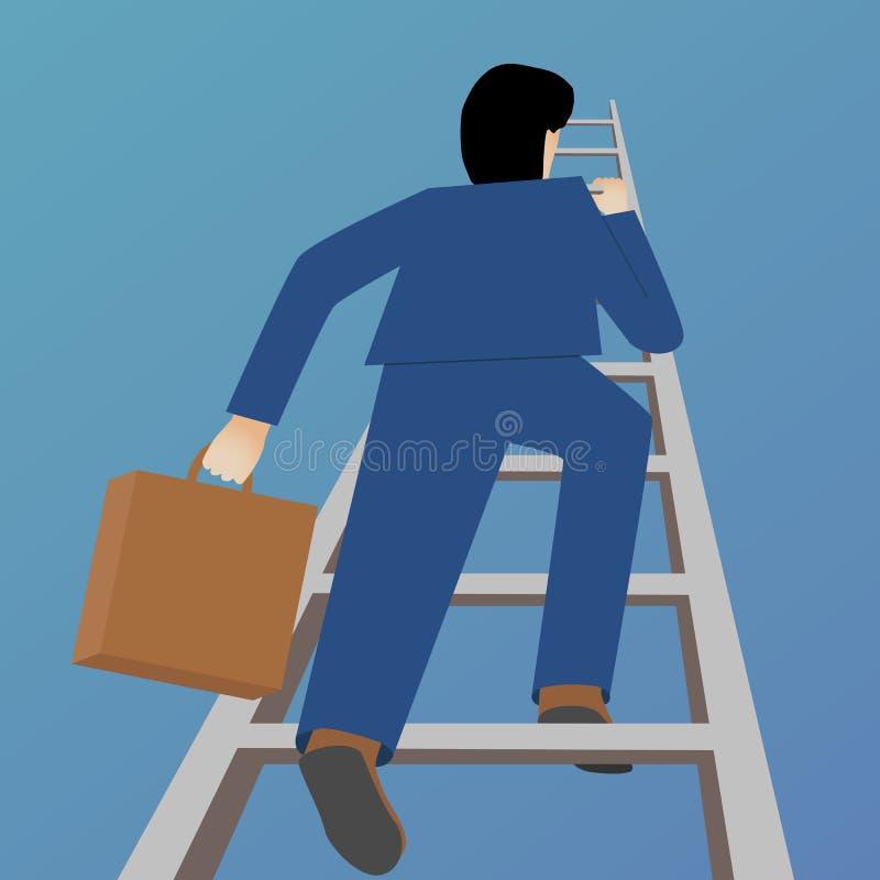 Красивая плоская метафора вектора дела дизайна бизнесмена взбираясь лестница иллюстрация вектора