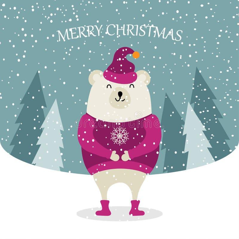Красивая плоская рождественская открытка дизайна с одетым полярным медведем иллюстрация вектора