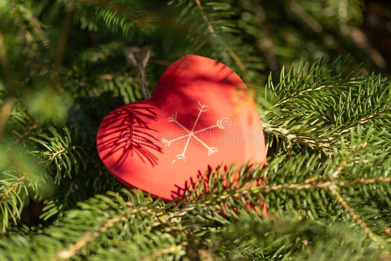 Красивая поздравительная открытка с Новым Годом 2019 и счастливые ветви рождественской елки дня Валентайн с красным сердцем дерви стоковое фото rf