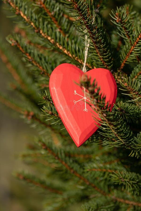 Красивая поздравительная открытка с Новым Годом 2019 и счастливые ветви рождественской елки дня Валентайн с красным сердцем дерви стоковое фото