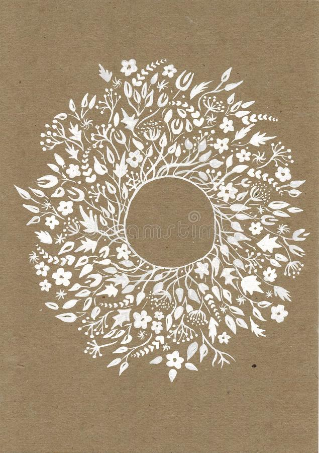 Красивая поздравительная открытка с флористическими венком и лентой Яркую иллюстрацию, можно использовать как создание карты, при иллюстрация вектора
