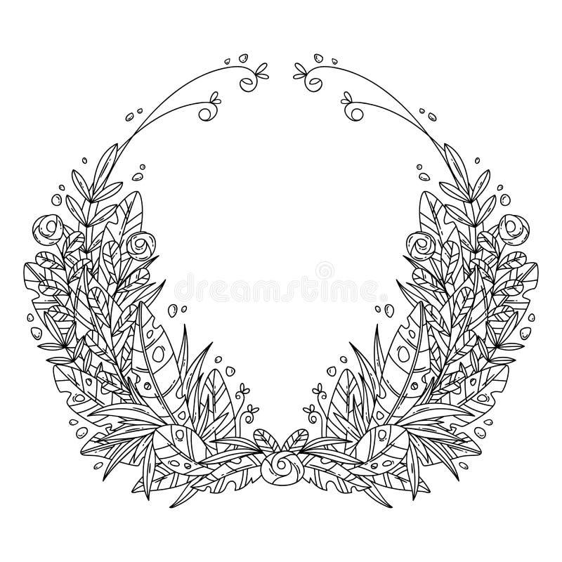 Красивая поздравительная открытка с флористическим венком шаржа бесплатная иллюстрация