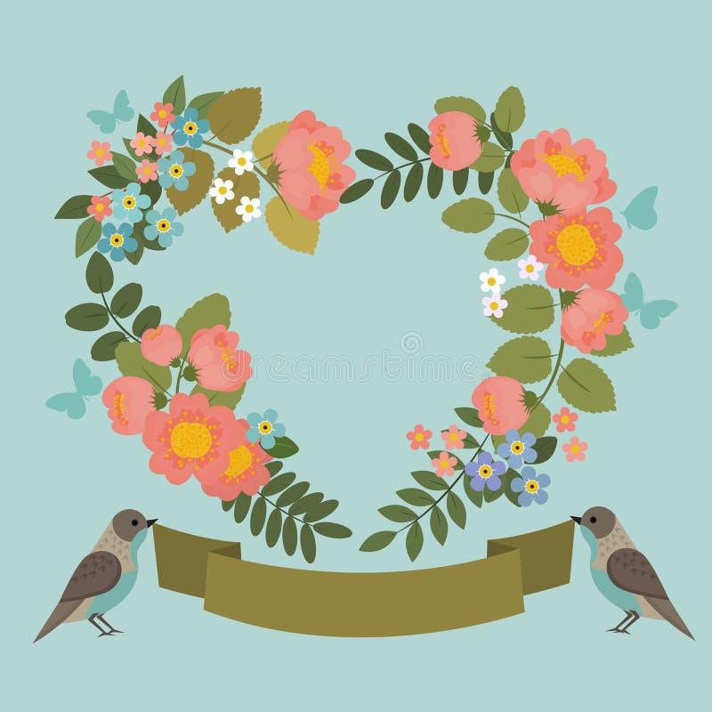 Красивая поздравительная открытка с флористическим венком с птицами и лентой бесплатная иллюстрация