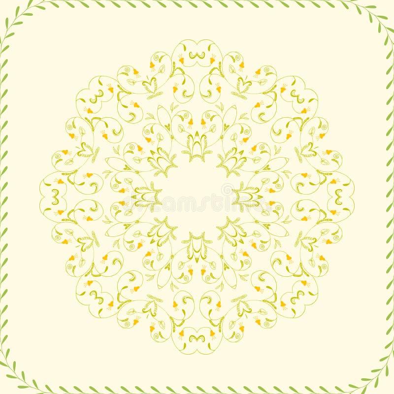 Красивая поздравительная открытка с флористическим венком Яркую иллюстрацию, можно использовать как создавать карточку, карточку  иллюстрация вектора