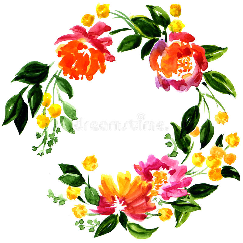 Красивая поздравительная открытка с флористическим венком иллюстрация штока