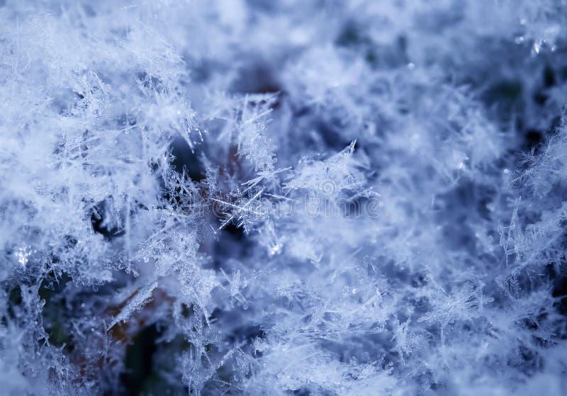 Красивая предпосылка кристаллов снега различных форм и текстуры лежат и shimmer в солнце на ясный зимний день стоковое фото rf