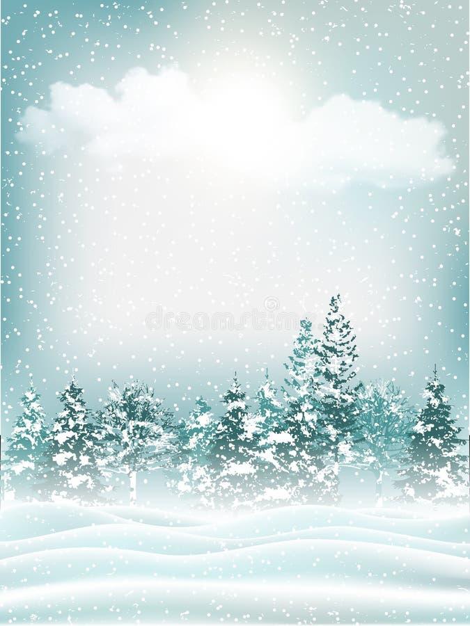 Красивая предпосылка ландшафта зимы праздника вектор иллюстрация штока