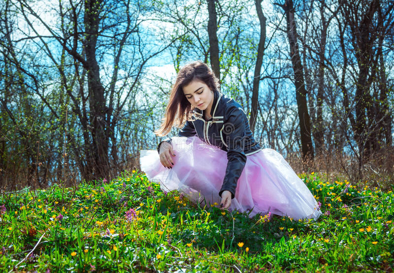 Красивая предназначенная для подростков девушка на луге стоковое изображение rf