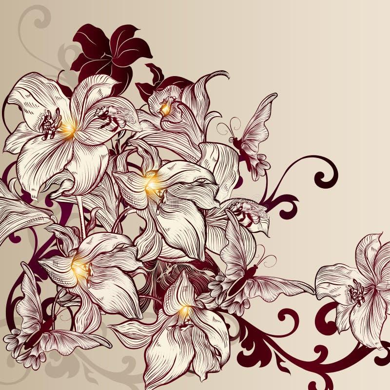 Красивая предпосылка вектора с лилией в винтажном стиле бесплатная иллюстрация