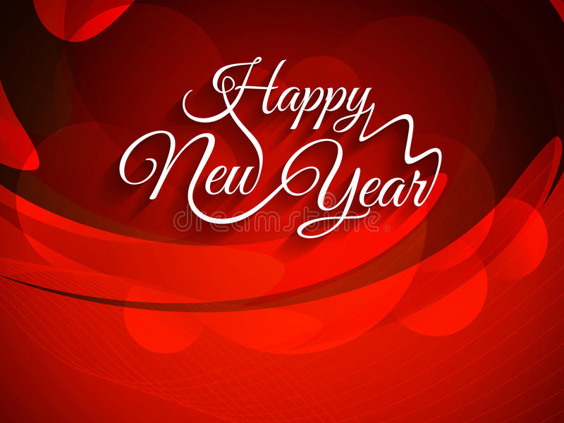 Красивая предпосылка красного цвета с элегантным дизайном текста счастливого Нового Года иллюстрация вектора