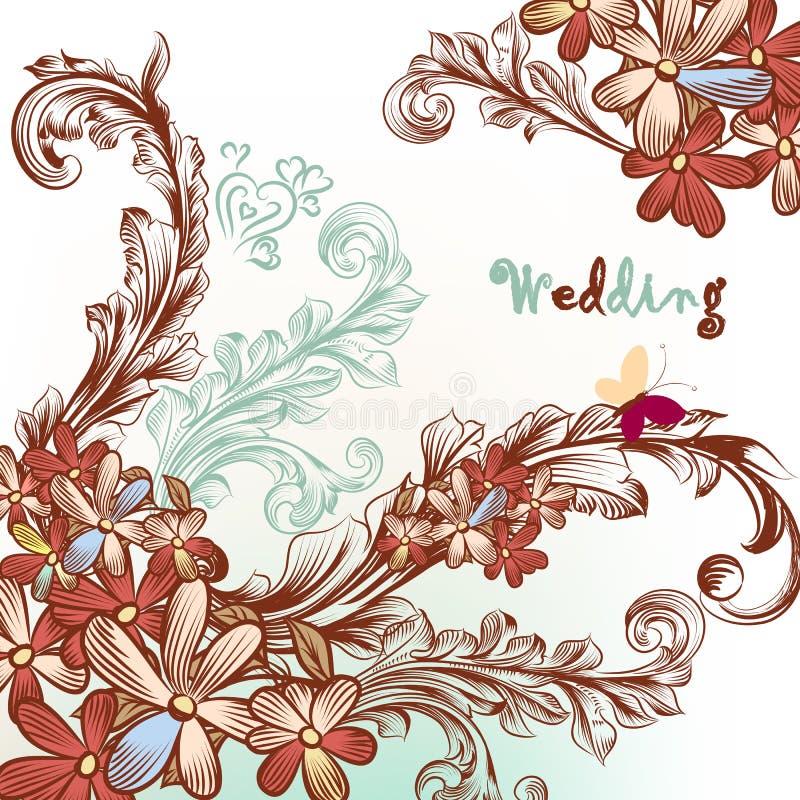 Красивая предпосылка свадьбы с цветками и свирлями иллюстрация вектора