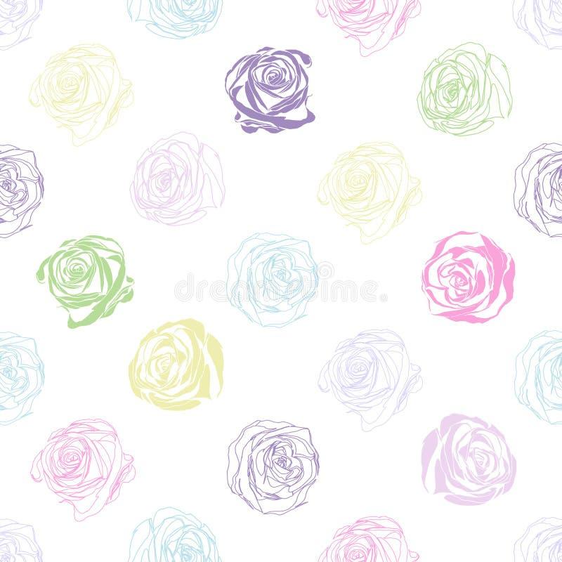 Красивая предпосылка с розами покрашенными конспектом бесплатная иллюстрация