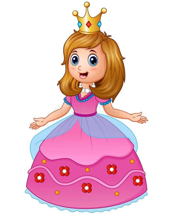 Красивая принцесса в розовом платье иллюстрация вектора