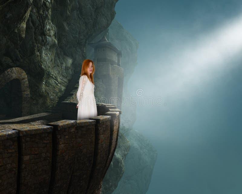 Красивая принцесса Девушка Средневеков Замок стоковая фотография