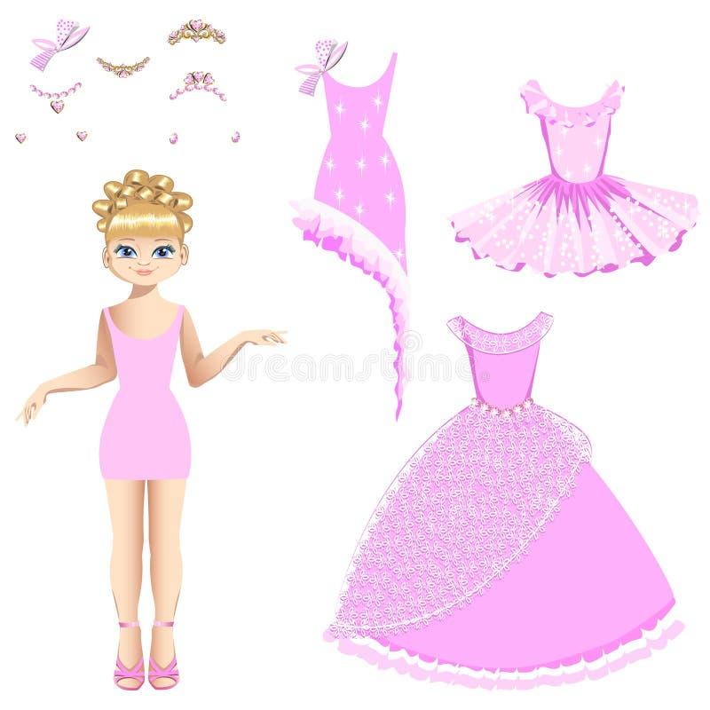 Красивая принцесса с собранием платьев и аксессуаров бесплатная иллюстрация
